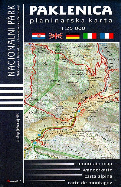 Paklenica National Park mountain map 1:25,000